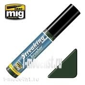 AMIG1256 Ammo Mig STREAKINGBRUSHER GREEN-GREY GRIME (Краска с тонкой кистью аппликатором)