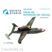 QD48106 Quinta Studio 1/48 3D 3D Cabin Interior Decal He-162 (for Tamiya Model)