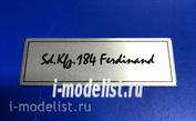 Т228 Plate Табличка для Sd.Kfz.184 Ferdinand, цвет белый, матовая, 60х20 мм