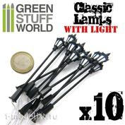 9269 Green Stuff World Классические уличные фонари со светодиодной подсветкой, 10 шт. / 10x Classic Lamps with LED Lights
