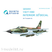 QD32051 Quinta Studio 1/32 3D Decal of the interior of the F-105D cabin (for the Trumpeter model)
