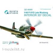 QD48069 Quinta Studio 1/48 3D cabin interior Decal P-51D (late) (for Eduard model)