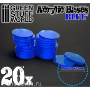 9291 Green Stuff World Акриловое основание, круглое, 25 мм - прозрачно-синее / Acrylic Bases - Round 25 mm CLEAR BLUE