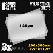 10353 Green Stuff World Майларовые трафаретные листы A4 3 шт / A4 Mylar Stencil Sheets x3