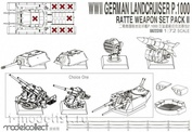 UA72310 Modelcollect 1/72 WWII Germany landcruiser p.1000 ratte weapon set pack II