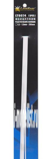 LT0074 Lion Roar Пруток пластиковый квадратный профиль, 1,5 х 1,5 мм. Длина 200 мм. В комплекте 5 штук.