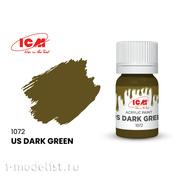 C1072 ICM Краска для творчества, 12 мл, цвет Американский темно-зеленый (US Dark Green)