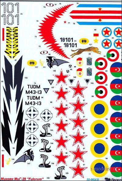 Деколи для самолета Микоян МиГ-29, комплект состоит из четырех листов переводных деколей и подробного описания.